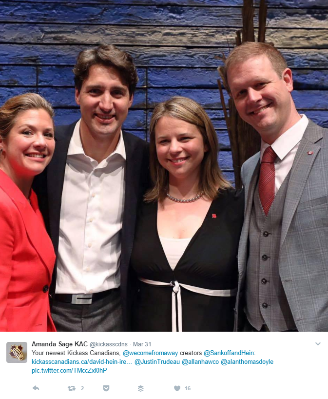 Irene Sankoff and David Hein, come from away, justin trudeau